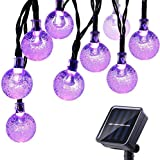 Icicle Halloween Solar String Lights, 20ft 30 LED Outdoor Globe Crystal Ball Lights DIY Lighting for Home, Patio, Lawn, Garden,Christmas Halloween Decorations (Purple)