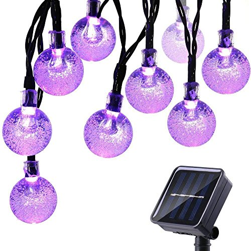 Icicle Halloween Solar String Lights, 20ft 30 LED Outdoor Globe Crystal Ball Lights DIY Lighting for Home, Patio, Lawn, Garden,Christmas Halloween Decorations (Purple) ()