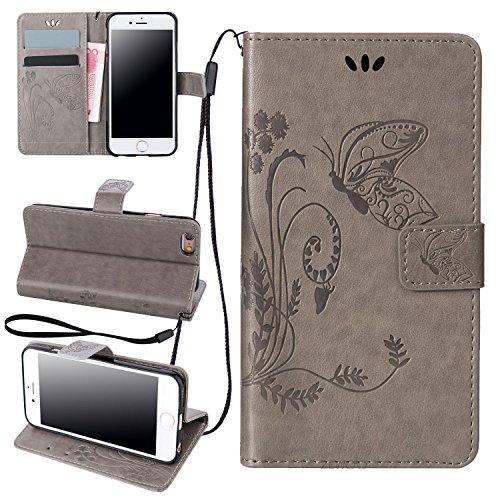ZeWoo Folio Ledertasche - LD102 / Mystische grau - für Apple iPhone 6 (4.7 Zoll) PU Leder Tasche Brieftasche Case Cover