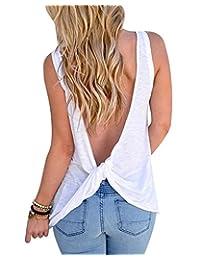 Imixshopcs Women Sexy Sleeveless Open Back Shirt Blouse Sport Vest Tops Tshirt