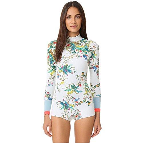 Lynddora Womens Swimwear Monokini Swimsuits Sexy One Piece Long Sleeve Bathing Suits (2164, US L/Tag XL) White - Long Piece Sleeve White One