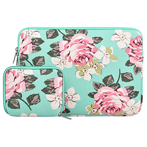 MOSISO Laptop Sleeve Bag Compatible 13-13.3 Inch MacBook Pro, MacBook Air, Notebook Computer with Small Case, Canvas Fabric Rose Pattern Protective Carrying Cover, Hot Blue by MOSISO