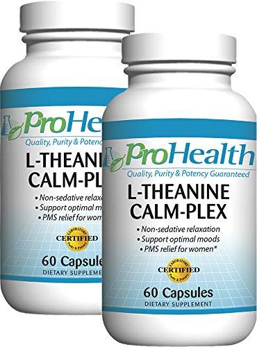 L-théanine Calm-Plex avec le GABA et 5-HTP (Suntheanine) (100 mg, 60 capsules moyennes) par ProHealth - Pack 2