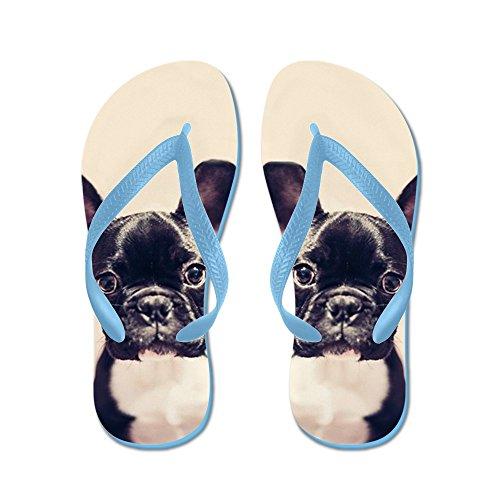 Cafepress Fransk Bulldogg - Flip Flops, Roliga Rem Sandaler, Strand Sandaler Caribbean Blue