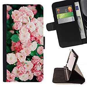 Momo Phone Case / Flip Funda de Cuero Case Cover - Bush Rosa Blanco Jardín Salvaje - Samsung Galaxy J3 GSM-J300