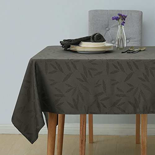Deconovo Decorative Jacquard Tablecloth with Bamboo Leaves Patterns Oblong Wrinkle Resistant and Waterproof Tablecloths for Kitchen 54 X 108 Inch Grey