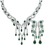 KnSam Women Platinum Plate Leaf Tassel Green Necklace Earrings Set Crystal [Novelty Bridal Jewelry Set]