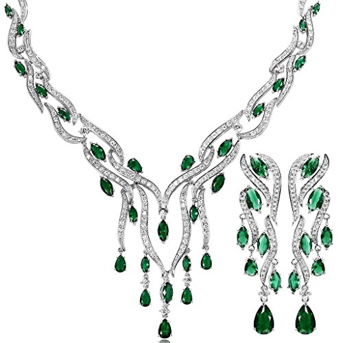 KnSam Women Platinum Plate Leaf Tassel Green Necklace Earrings Set Crystal [Novelty Bridal Jewelry Set] by KnSam