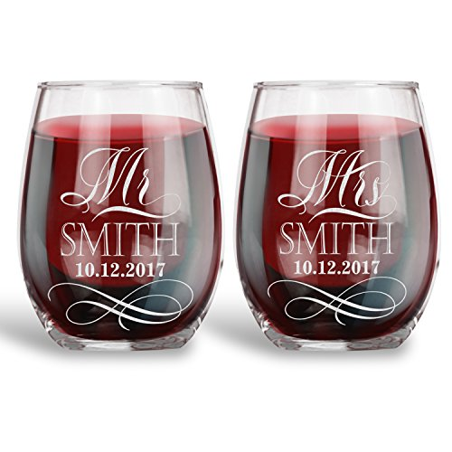 Personalized 15 oz. Stemless Wine Glass for Wedding, Wine Ceremony | Mr. Mrs. Elegant|Engraved with your NAMES and DATE, Wedding Registry Gift Ideas
