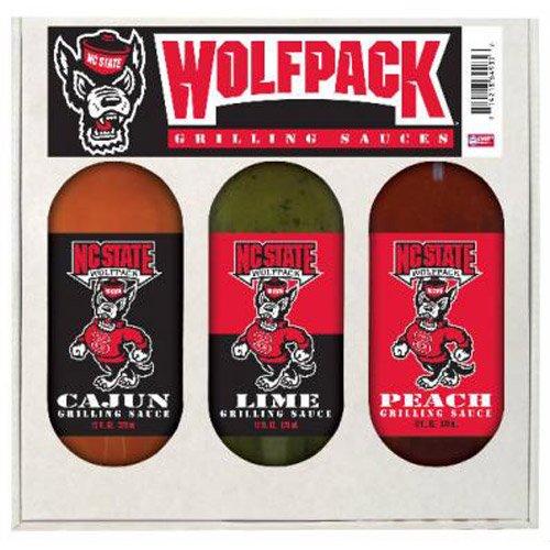 North Carolina State Wolfpack NCAA Grilling Gift Set (12oz Cajun, 12oz Lime, 12oz Peach)