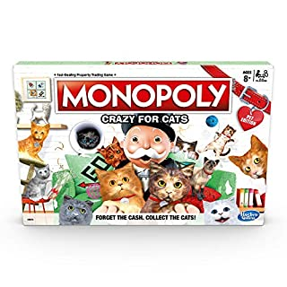 Monopoly Crazy for Cats Board Game, for Kids and Cat Lovers Ages 8 and Up, 2-4 Players