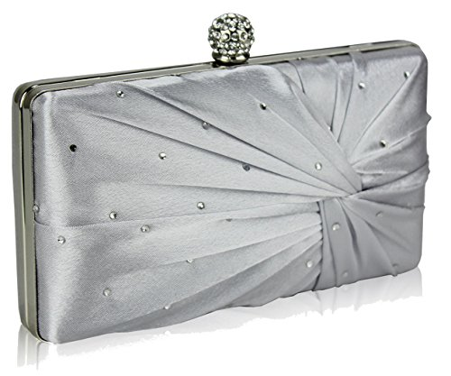 Silver Clasp Crystal FREE Bag Evening DELIVERY UK Clutch Satin Evening Gorgeous tFqwCF