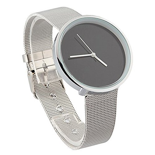 9.25' Metal (Casual Classic Mens Stainless Steel Mesh Quartz Wrist Watch Black)