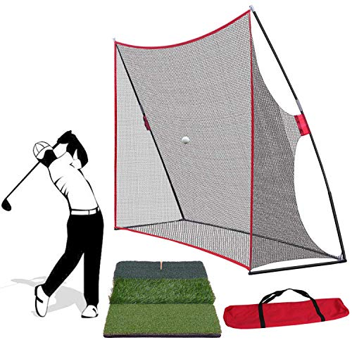 Saturnpower Golf Net and Mat Bundle - 10 x 7 ft Golf Net with Frame + Tri-Turf Hitting Mat with Carry Bag for Practice Pitching Training,Backyard/Indoor/Outdoor Golf Practice Set Golf Training Kit