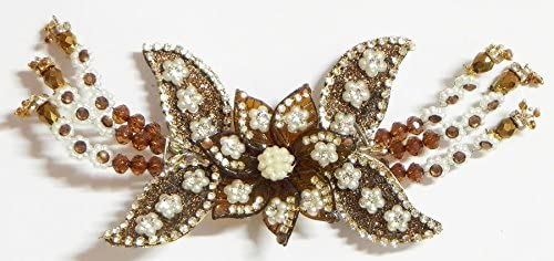 DollsofIndia White Stone Studded Brown Acrylic Flower Head Piece with Beads (IL29) Hair Accessories at amazon