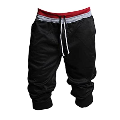 1PC Men Sport Sweat Pants Shorts Dance Training Trousers (M, Black)
