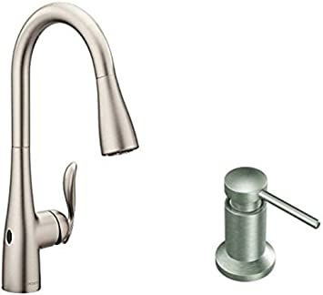 Moen 7594ewsrs Arbor Motionsense Wave Sensor Touchless One Handle High Arc Pulldown Kitchen Faucet Featuring Reflex Spot Resist Stainless With Kitchen Soap And Lotion Dispenser Amazon Com