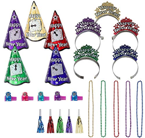 Party City Colorful New Years Night New Year's Party Kit for 10 Guests, Includes Hats, Noisemakers and Accessories -