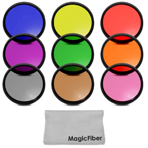 58MM Complete Full Color Lens Filter Set for CANON Rebel T5i T4i T3i T2i T1i SL1, EOS 700D 650D 600D 550D 500D 100D DSLR Cameras with a 18-55MM Zoom Lens - Includes: Red, Orange, Blue, Yellow, Green, Brown, Purple, Pink and Gray ND Filters + MagicFiber Microfiber Lens Cleaning Cloth