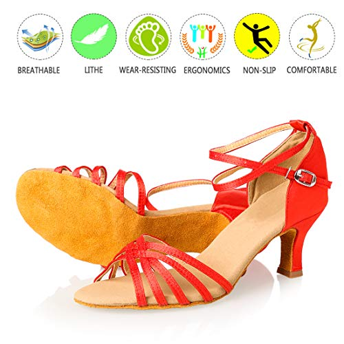 Red Dance Wedding Ballroom Salsa Women's 4'' Satin Shoes Latin GetMine 2 Professional Shoes Heel Dancing 8n0Ftxq6w