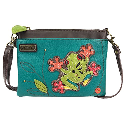 Chala Mini Crossbody Handbag, Multi Zipper, Pu Leather, Small Shoulder Purse Adjustable Strap, Turquoise - Frog