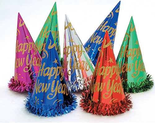 Creative Converting 50 Count Happy New Year Foil Hats with Fringe, Multicolor