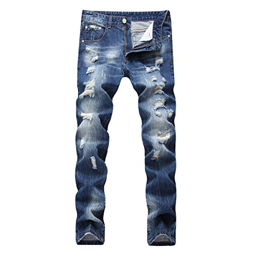 Bleached Straight Leg Jean (PrettyChic Men's Distressed Jeans Stretch Slim Fit Tapered Leg Patched Ripped Jeans, Blue, 42)