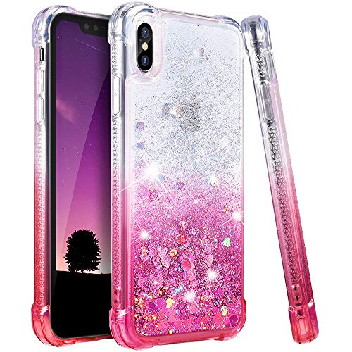 Ruky Case for iPhone Xs Max Glitter Case, Gradient Quicksand Series TPU Bumper Cushion Reinforced Corners Protective Bling Liquid Case Girls Women for The iPhone Xs Max 6.5 Inch - Gradient Pink