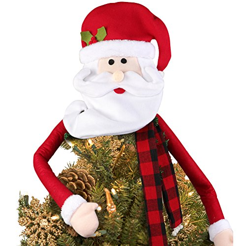 PartyTalk Santa Claus Tree Topper Large Christmas Tree Topper for Christmas Tree Decorations and Ornaments, Santa Head with Buffalo Plaid Scarf