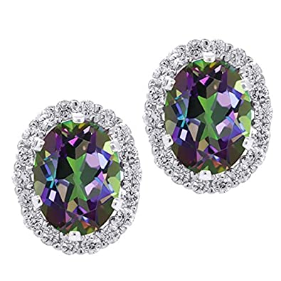 Gem Stone King 925 Sterling Silver Green Mystic Topaz Stud Earrings with Jackets 3.72 Ctw Oval