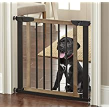"""NMN Designs Logan Dog Gate - Indoor Pet Barrier, Expandable to 40"""", Walk Through Swinging Door, Extra Wide, Pressure Mounted, Walls, Stairs. Small and Large Dogs. Wood, Metal. Best Dog Gate"""