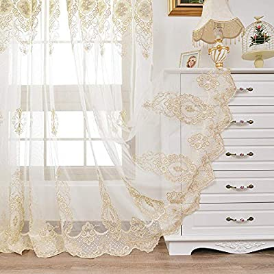 AiFish Floral Embroidered Sheer Curtain 63 inch Long Transparent Elegant Rod Pocket Tulle European Gauze Customized Beige Voile Window Curtain Drape Panel for Living Room 1 Piece