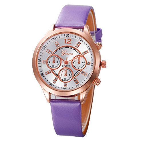 Transparent Dial Faux Leather Wrist Watch (Purple) - 7