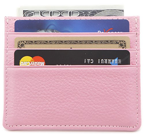 DEEZOMO Genuine Leather RFID Blocking Card Case Wallet Slim Super Thin 6 Card Slots Compact Wallet (Pink) (Womens Card Case)