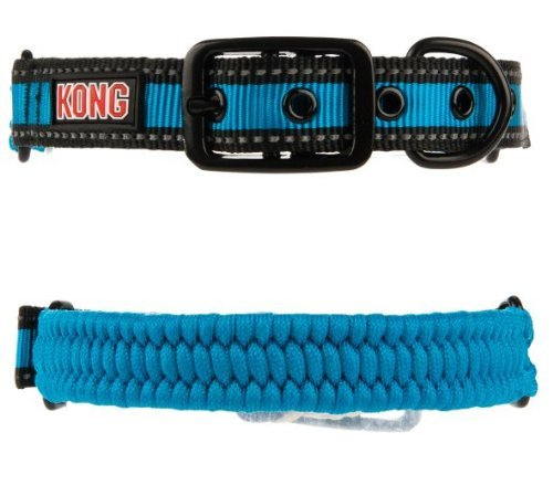 KONG Paracord Reflective Dog Collar - blue