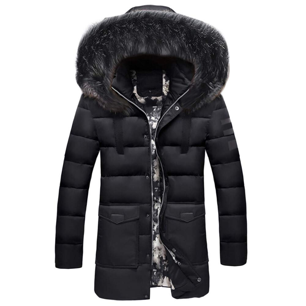 Mens Down Coats,Winter Faux Fur Hooded Down Jacket Zipper Lined Puffer Jacket Padded Parka Zulmaliu (Black,L)