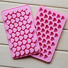 CIMERAC Silicone mold Mini Heart Shape Silicone Ice Cube Molds Trays / Chocolate Mold Pink Set Of Two