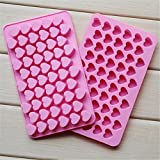 #3: CIMERAC Silicone mold Mini Heart Shape Silicone Ice Cube Molds Trays / Chocolate Mold Pink Set Of Two