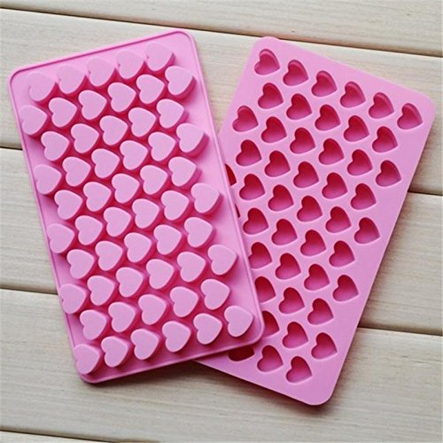 CIMERAC Silicone mold Mini Heart Shape Silicone Ice Cube Molds Trays / Chocolate Mold Pink Set Of Two (Shape Silicone)