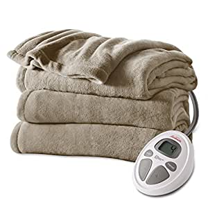 Sunbeam Microplush Heat Blanket, Twin, Mushroom