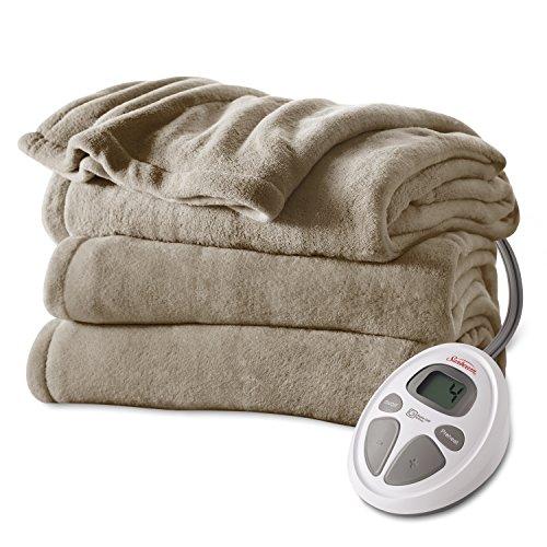 New Sunbeam Microplush Heat Blanket, Full, Mushroom