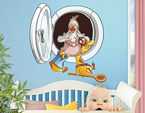Wall Decal Flying Farm Hatchway With Chickens wall tattoo wall stickers wall tattoos wall decals; Dimensions: 40.9 x 39.4 (Flying Chicken Tattoo)