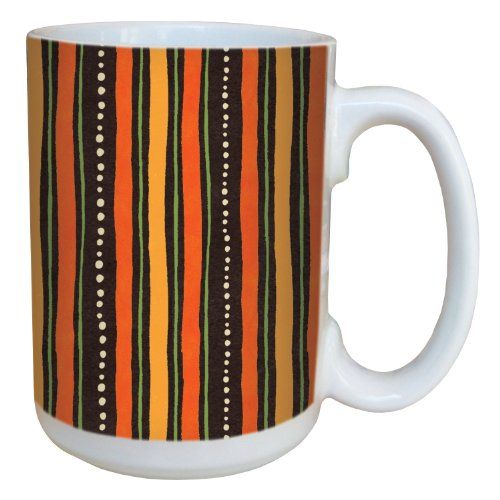 (Tree-Free Greetings 79224 Halloween Hoot Stripe by Debbie Mumm Ceramic Mug with Full-Sized Handle, 15-Ounce)