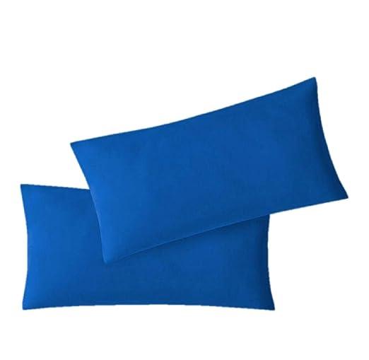 Funda de almohada doble con cremallera, 3 Tamaños, 115 g/m², 100% algodón, azul real, 40 x 80 cm