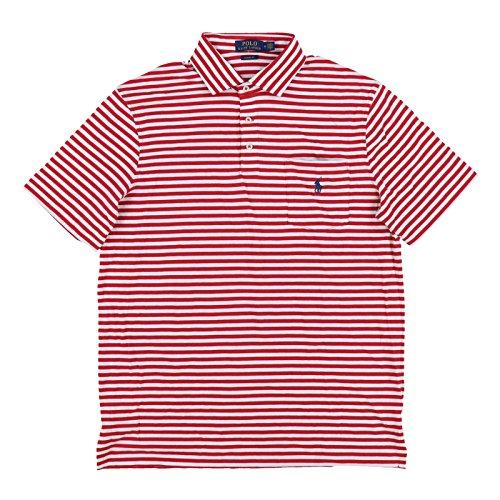 Polo Ralph Lauren Mens Interlock Pocket Polo Shirt (Large, Red White Stripes)