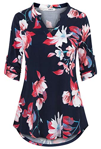 Comila Tunic Tops Plus Size Women, Classic Floral Printed 3/4 Roll Sleeve Tunic Dress Autumn Professional Tops Notch Neck Loose Flowy V Tunic Blouses Dark Blue Red XXL US(18/20)