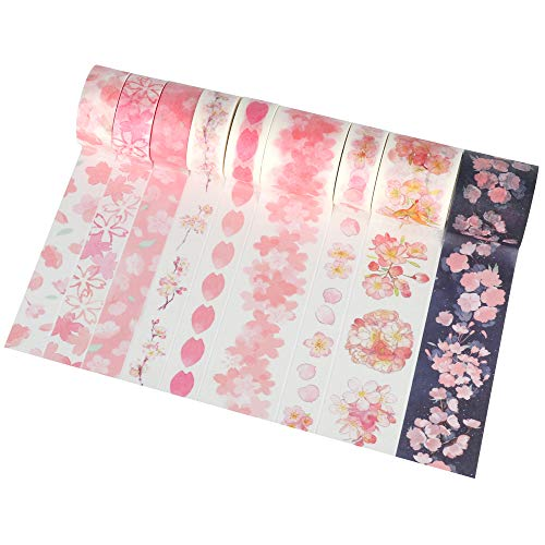 Molshine Set of 9 Japanese Washi Masking Tape, Art Washi Tape, Sticky Paper Tape for DIY, Decorative Craft, Gift Wrapping, Scrapbook- Cherry Blossoms Series (0.6inx3.3ydx6rolls,1.2in x 3.3ydx3rolls)