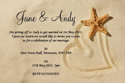 10 x Personalised Sandy Beach Wedding Invitations