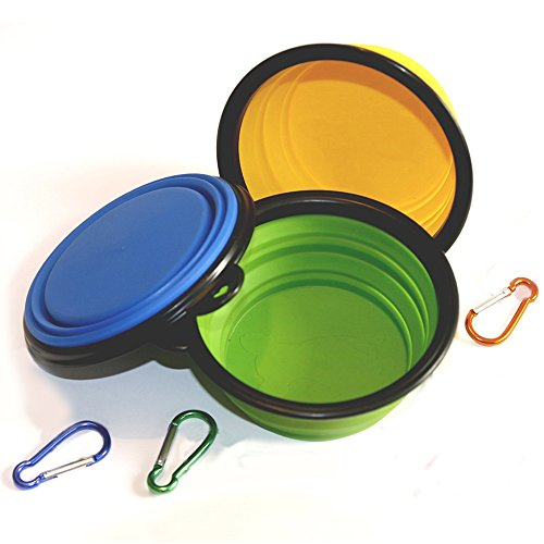 COMSUN 3-Pack Collapsible Dog Bowl, Food Grade Silicone BPA Free, Foldable Expandable Cup Dish for Pet Cat Food Water Feeding Portable Travel Bowl Blue Green Yellow Free Carabiner