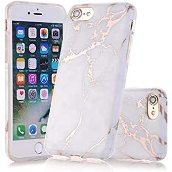IPhone 7 Case 8 JAHOLAN Shiny Rose Gold White Marble Design Clear